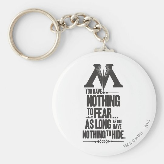 Nothing to Fear - Nothing to Hide Basic Round Button Key Ring