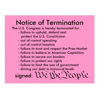 Notice of Termination postcard