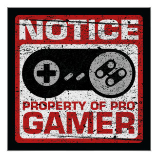Notice Property Of Pro Gamer Poster