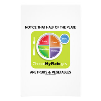 Notice That Half Of Plate Are Fruits & Vegetables Stationery