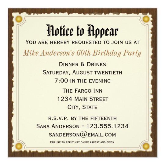 Notice to appear birthday party invitation zazzle notice to appear birthday party invitation stopboris Image collections