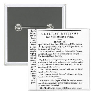 Notices for Chartist Meetings 15 Cm Square Badge