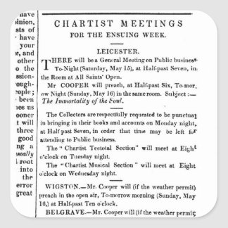 Notices for Chartist Meetings Square Sticker