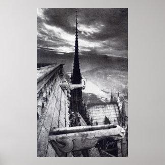 Notre Dame Cathedral Paris France 1910 Vintage Poster
