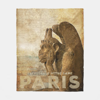 Notre Dame Cathedral Paris, le Stryga Chimera Fleece Blanket