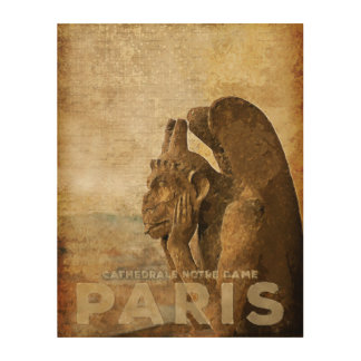 Notre Dame Cathedral Paris, le Stryga Chimera Wood Print