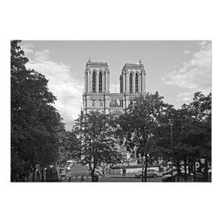 Notre Dame de Paris in the environment of trees Photo Print