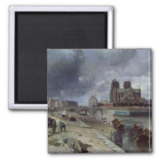Notre-Dame from the Quai de la Tournelle, 1852 Square Magnet