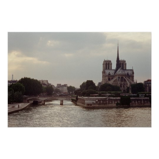 Notre Dame on the River Seine Poster