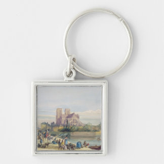 Notre Dame, Paris (w/c on paper) Silver-Colored Square Key Ring
