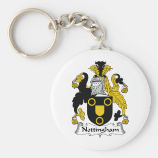 Nottingham Family Crest Basic Round Button Key Ring