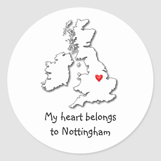 Nottingham my heart belongs classic round sticker