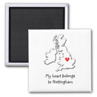 Nottingham my heart belongs refrigerator magnet