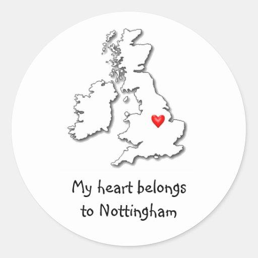 Nottingham my heart belongs sticker