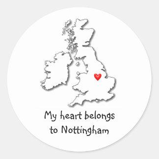 Nottingham my heart belongs stickers