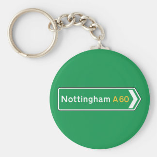 Nottingham, UK Road Sign Key Ring