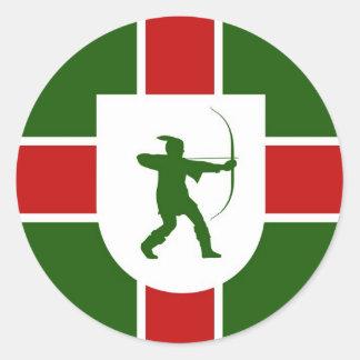 nottinghamshire region flag england robin hood round sticker