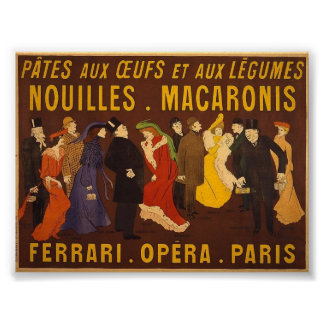 Nouilles, macaronis. Ferrari, Opéra, Paris. Poster