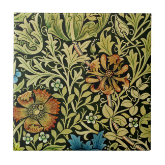 Nouveau Blue and Orange Flowers on Vine Small Square Tile