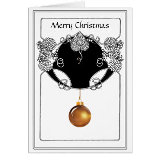 Nouveau Christmas Ornamental in Gold and Black Greeting Card