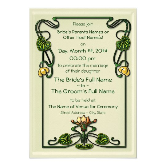 Nouveau Lilies (Wedding Invitation) Card