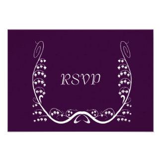 Nouveau Snowdrops Purple RSVP Card
