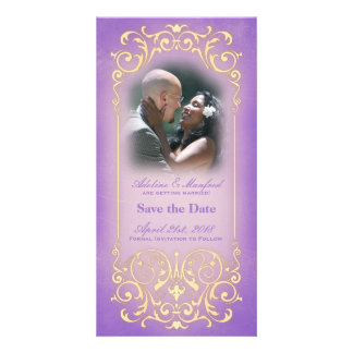 Nouveau Victorian Lilac Gold Save the Date Photo Card Template