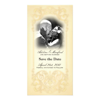 Nouveau Victorian Pale Gold Fancy Save the Date Photo Card Template