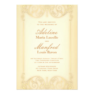 Nouveau Victorian: Pale Gold Fancy Wedding Invites
