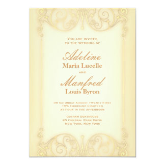Nouveau Victorian: Pale Gold Fancy Wedding 5x7 Paper Invitation Card