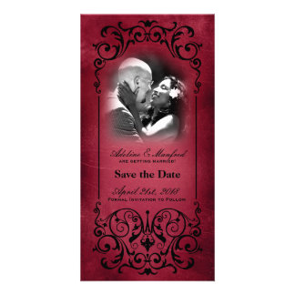 Nouveau Victorian Red Black Save the Date Picture Card