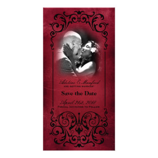 Nouveau Victorian Red Black Save the Date Photo Greeting Card