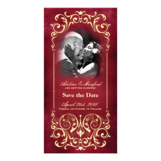 Nouveau Victorian Red Gold Save the Date Personalized Photo Card