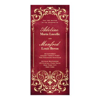 Nouveau Victorian: Red & Gold Wedding Card