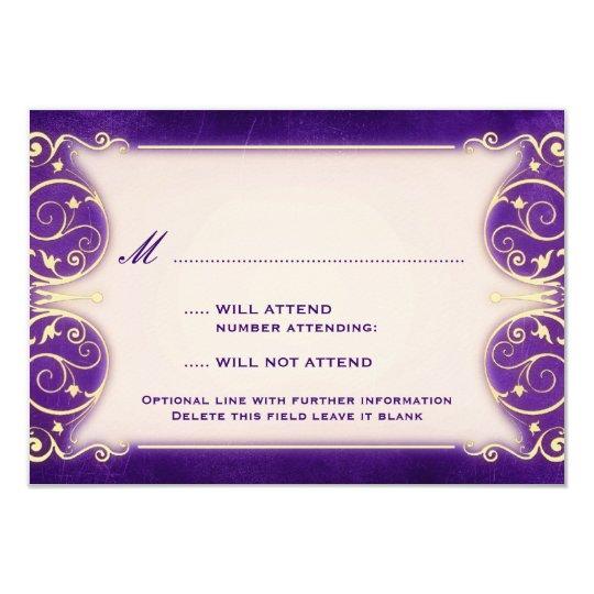 Nouveau Victorian: Vintage Gold & Purple RSVP Card