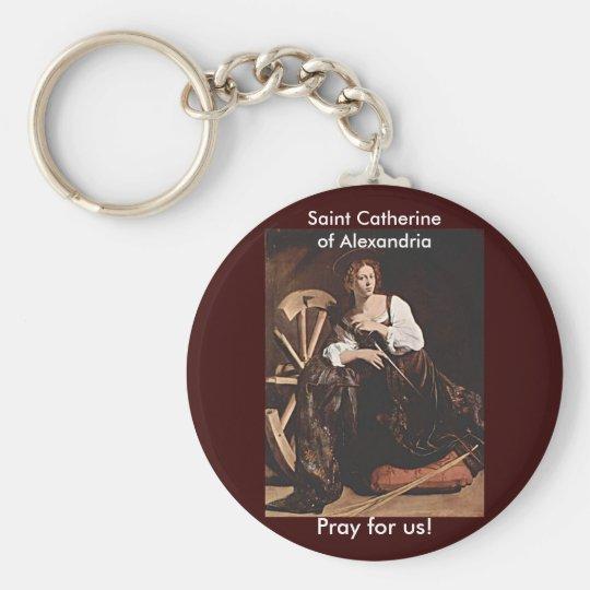 Nov 26 St. Catherine of Alexandria Basic Round Button Key Ring