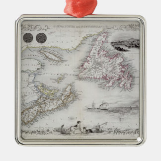 Nova Scotia and Newfoundland, from a Series of Wor Silver-Colored Square Decoration