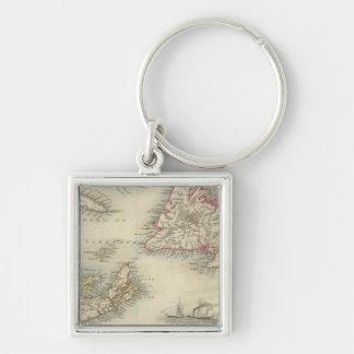 Nova Scotia And Newfoundland Silver-Colored Square Key Ring