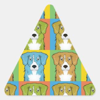 Nova Scotia Duck Tolling Retriever Cartoon Pop-Art Triangle Stickers