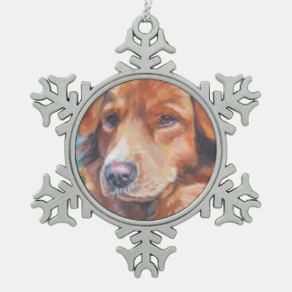 Nova Scotia Duck Tolling Retriever Toller art Snowflake Pewter Christmas Ornament