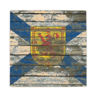 Nova Scotia Flag on Rough Wood Boards Effect Wood Coaster