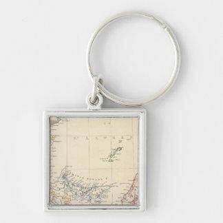 Nova Scotia, NB, Lower Canada Silver-Colored Square Key Ring