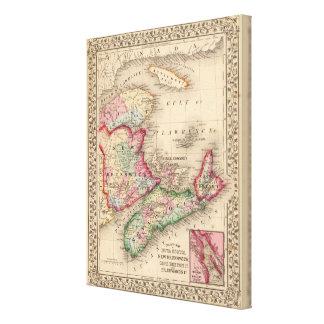 Nova Scotia, New Brunswick, Map by Mitchell Canvas Print