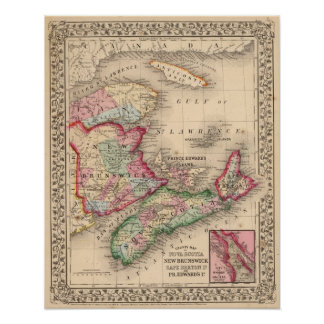 Nova Scotia, New Brunswick, Map by Mitchell Poster