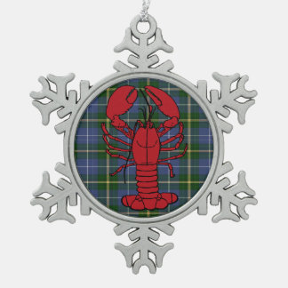 Nova Scotia Tartan lobster snowflake ornament