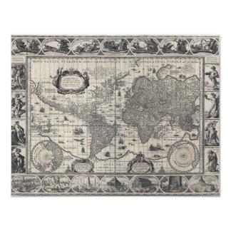 Nova totius terrarum, 1606 Antique World Map 11 Cm X 14 Cm Invitation Card