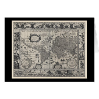 Nova totius terrarum, 1606 Antique World Map Card
