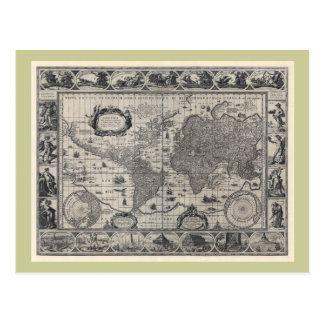 Nova totius terrarum, 1606 Antique World Map Postcard