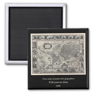 Nova totius terrarum, 1606 Antique World Map Square Magnet