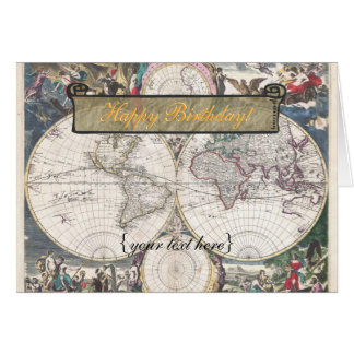 Nova Totius Terrarum Orbis Tabula - Happy Birthday Greeting Card